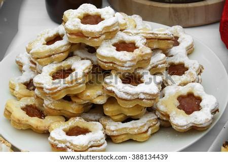 Cookies with orange marmalade - stock photo
