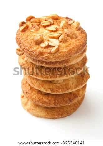 Cookies with peanuts on white background - stock photo