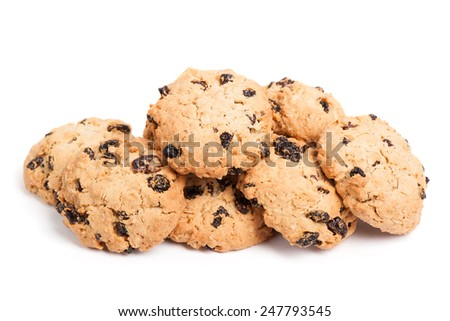 Cookies with raisins isolated on white background - stock photo