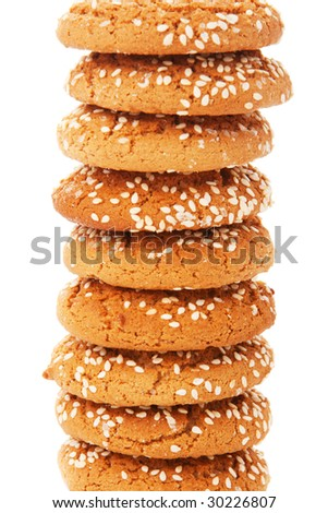 Cookies with sesame in stack