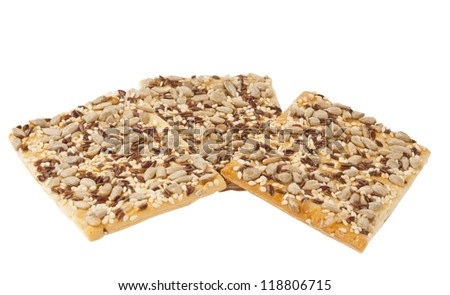 Cookies with sesame seeds isolated on white background