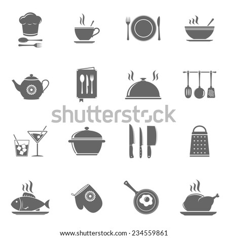 Cooking and kitchen icons set - stock photo