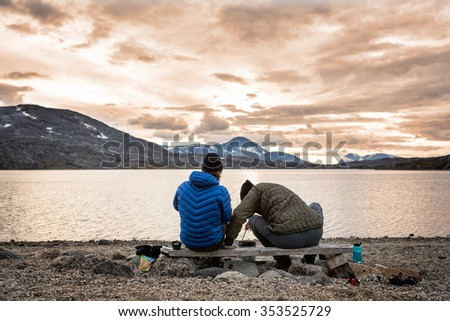 Cooking at Sunset outdoors - stock photo