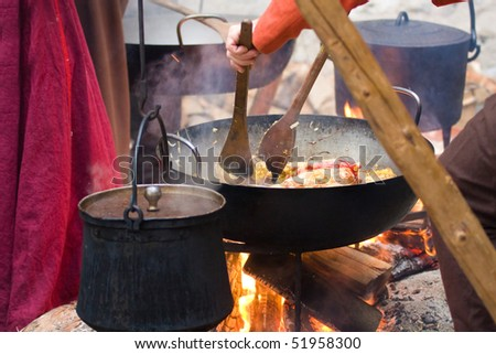 cooking at the castle - stock photo