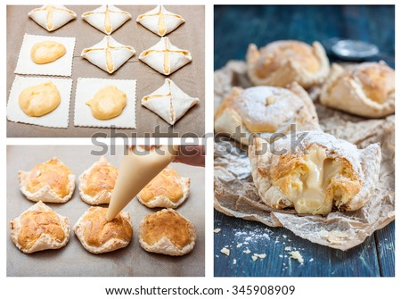 cooking cake of puff pastry, choux pastry and custard. filled pastry custard. step by step cooking. bitten cake with powdered sugar on a baking paper on a dark wooden table. Rustic composition style. - stock photo