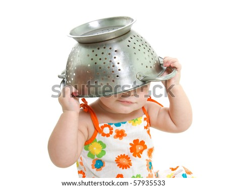 cooking child over white - stock photo