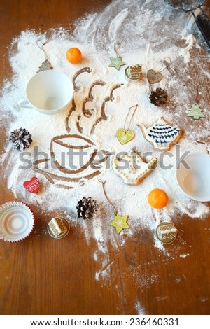 cooking Christmas cookies,Magic Kitchen - stock photo