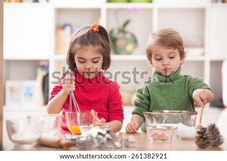 Cooking class for little chefs - stock photo