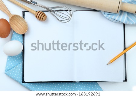 Cooking concept. Basic baking ingredients and kitchen tools close up - stock photo