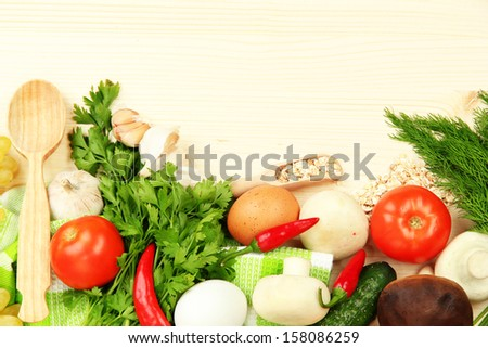 Cooking concept. Groceries on wooden table