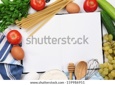 Cooking concept. Groceries with empty cookbook close up - stock photo