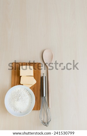 Cooking concept. Preparation for baking, bake ingredients and ki - stock photo