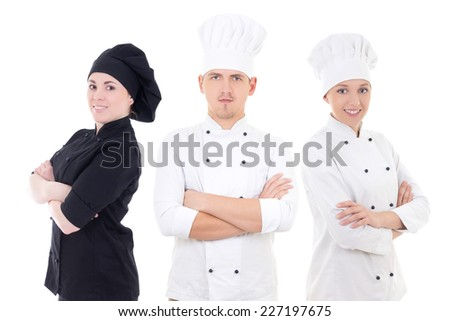 cooking concept - young chefs team isolated on white background - stock photo