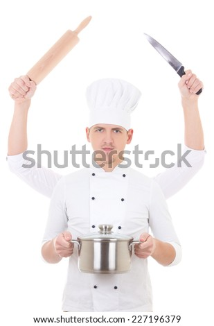 cooking concept -young man in chef uniform with four hands holding kitchen equipment isolated on white - stock photo