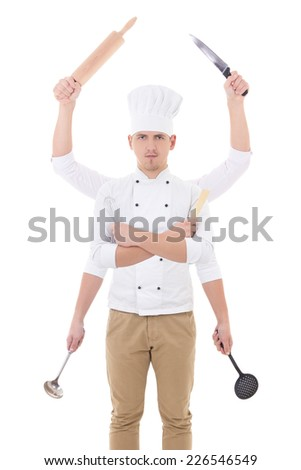 cooking concept -young man in chef uniform with 6 hands holding kitchen equipment isolated on white background - stock photo
