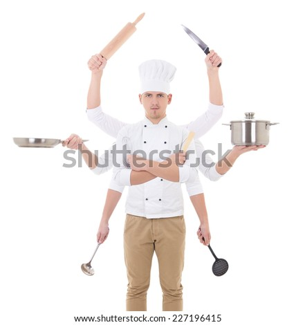 cooking concept -young man in chef uniform with 8 hands holding kitchen tools isolated on white background - stock photo