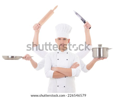 cooking concept -young man in chef uniform with six hands holding kitchen equipment isolated on white background - stock photo