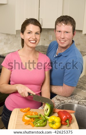 Cooking Couple - stock photo