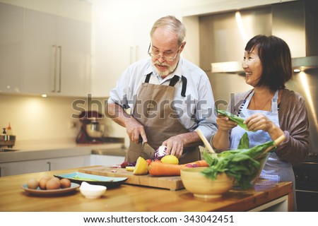 Cooking Couples Elders Kitchen Food Happiness Family Fresh Meal Home Concept - stock photo