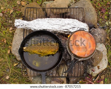 Cooking delicious fish dinner on campfire: Fish (Grayling) frying in cast iron pan and steaming in tin foil. - stock photo