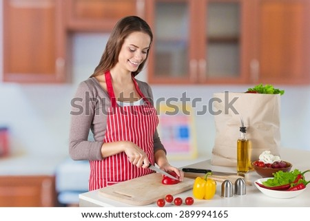 Cooking, Domestic Kitchen, Women.