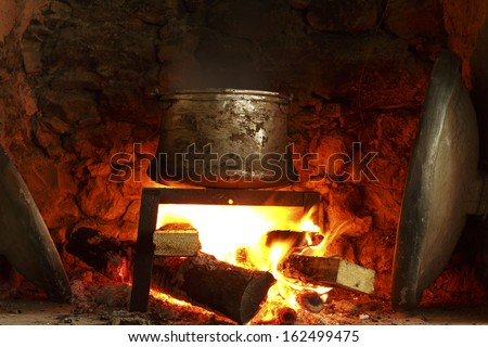 cooking fire - stock photo