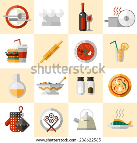 Cooking food icons set with cutlery chef hat wine bottle pot isolated  illustration - stock photo