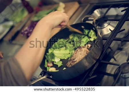 Cooking Frying Dish Dinner Concept