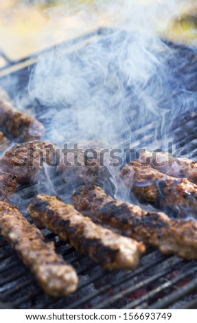 Cooking grilled minced meat balls on fire - stock photo