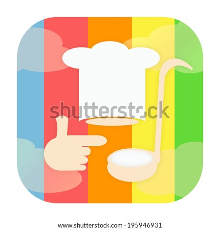 Cooking icon with chef hat and soup ladle - stock photo