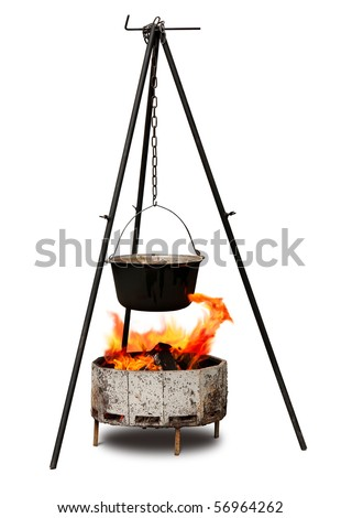 Cooking in old cast-iron on tripod isolated over white - stock photo