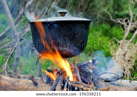 Cooking in the nature. Cauldron on fire in forest - stock photo