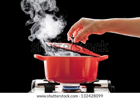 Cooking in the pot - stock photo