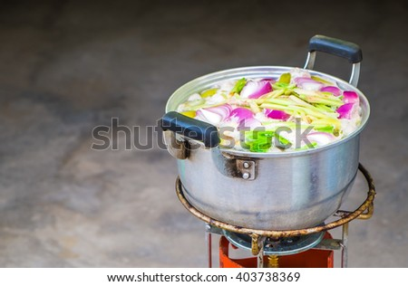 Cooking in the pot, Thailand cuisine - stock photo