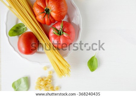 cooking italian pasta, food top view - stock photo