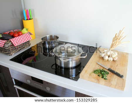 cooking modern kitchen - stock photo