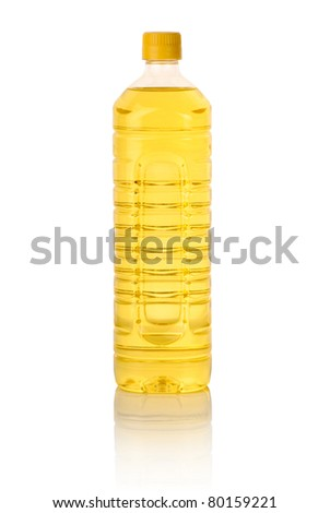 cooking oil bottle isolated on white - stock photo