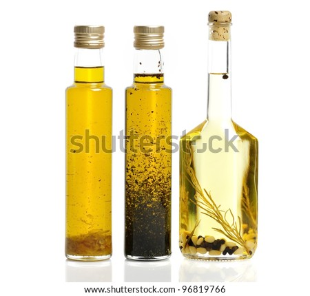Cooking Oil Bottles On White Background
