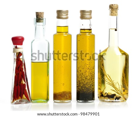 Cooking Oil Collection On White Background - stock photo