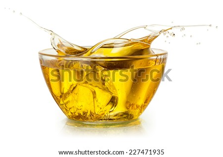 Cooking oil. Splash isolated on white. With clipping path. - stock photo