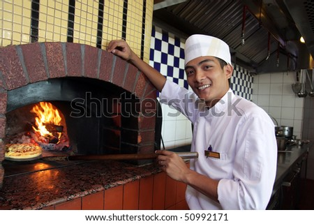 cooking pizza - stock photo
