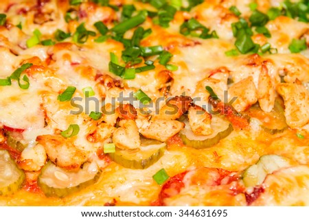 Cooking pizza with variety of toppings