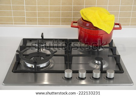 Cooking Pot on Gas Stove    - stock photo