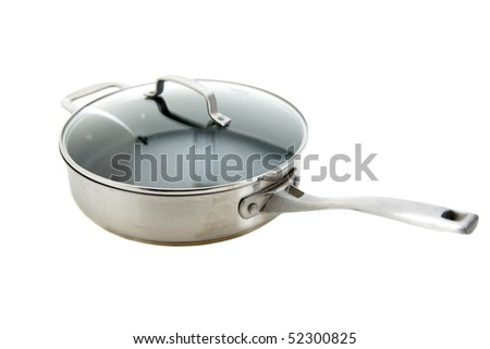 cooking pot with glass lid isolated on white