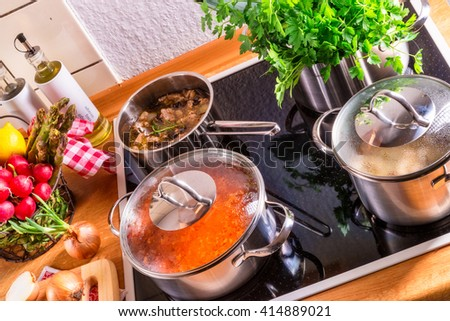 cooking pots on the stove - stock photo