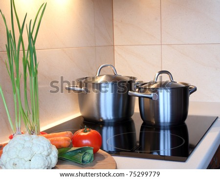 cooking pots standing on induction hob