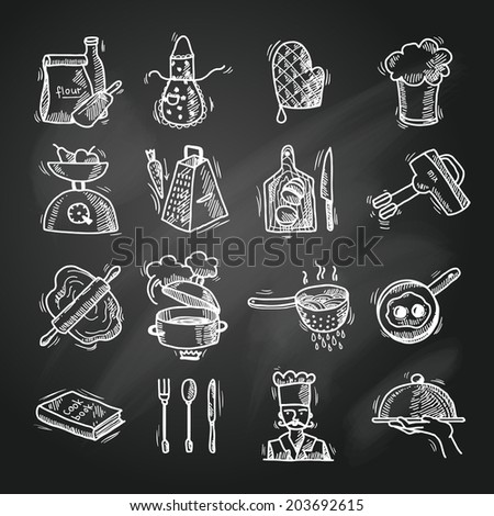 Cooking process delicious food sketch chalkboard icons set isolated  illustration - stock photo