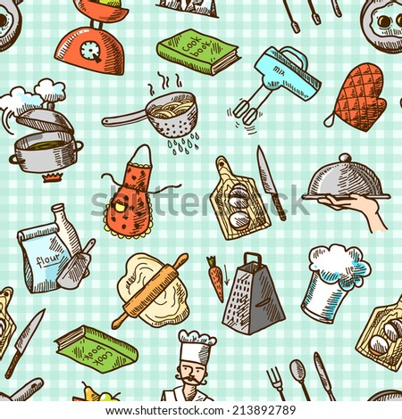 Cooking process delicious food sketch icons on squared background seamless pattern  illustration - stock photo