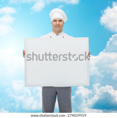 cooking, profession, advertisement and people concept - happy male chef cook holding and showing white blank big board over blue sky with clouds background - stock photo