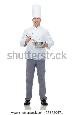 cooking, profession and people concept - happy male chef cook holding bowl and whipping something with whisk - stock photo